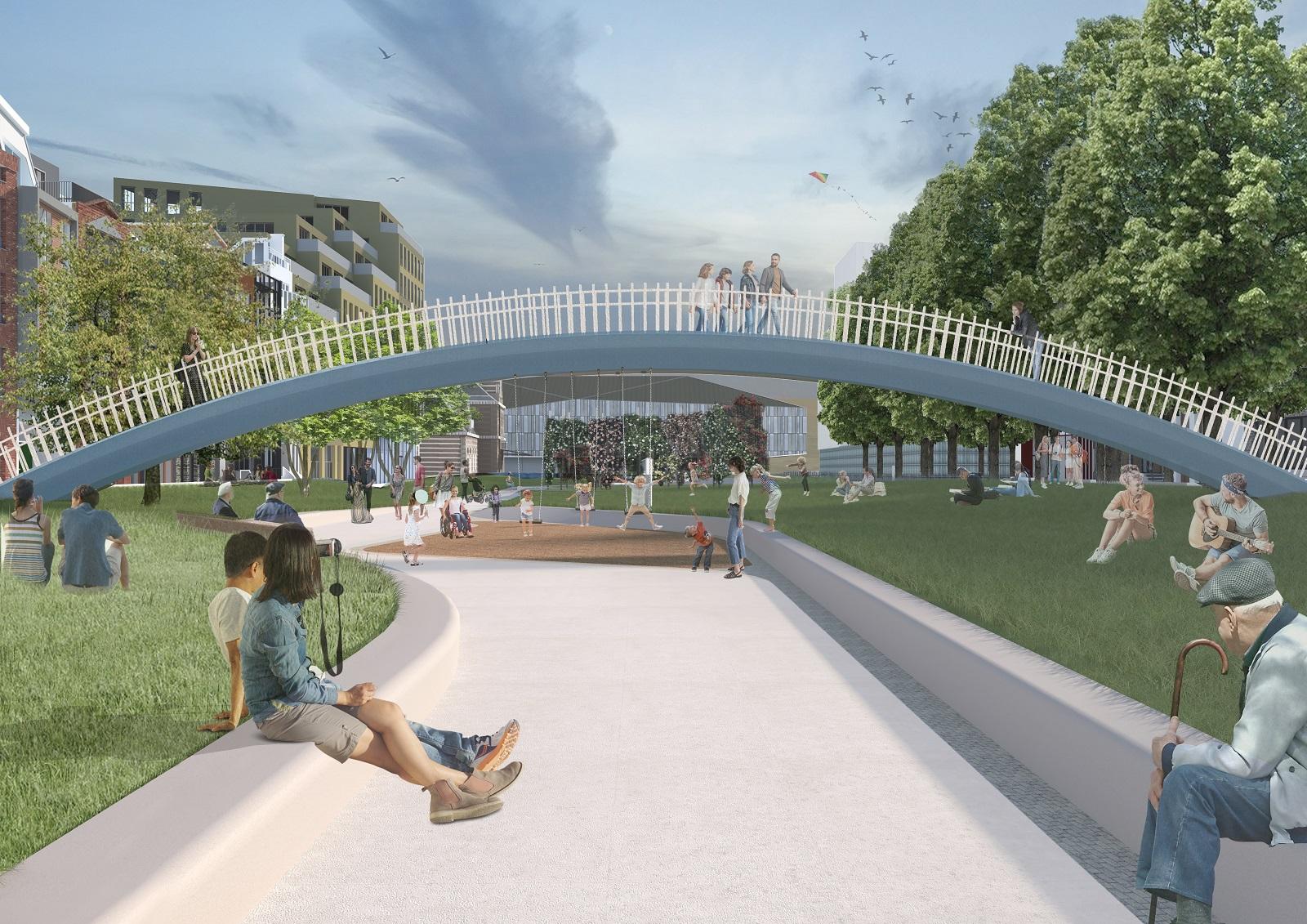 Impressie loopbrug Park Noord