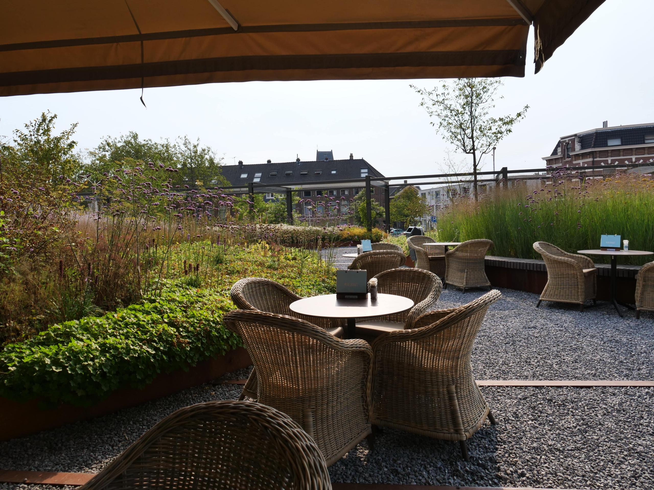 terras in Park Spoorloos in Nieuw Delft