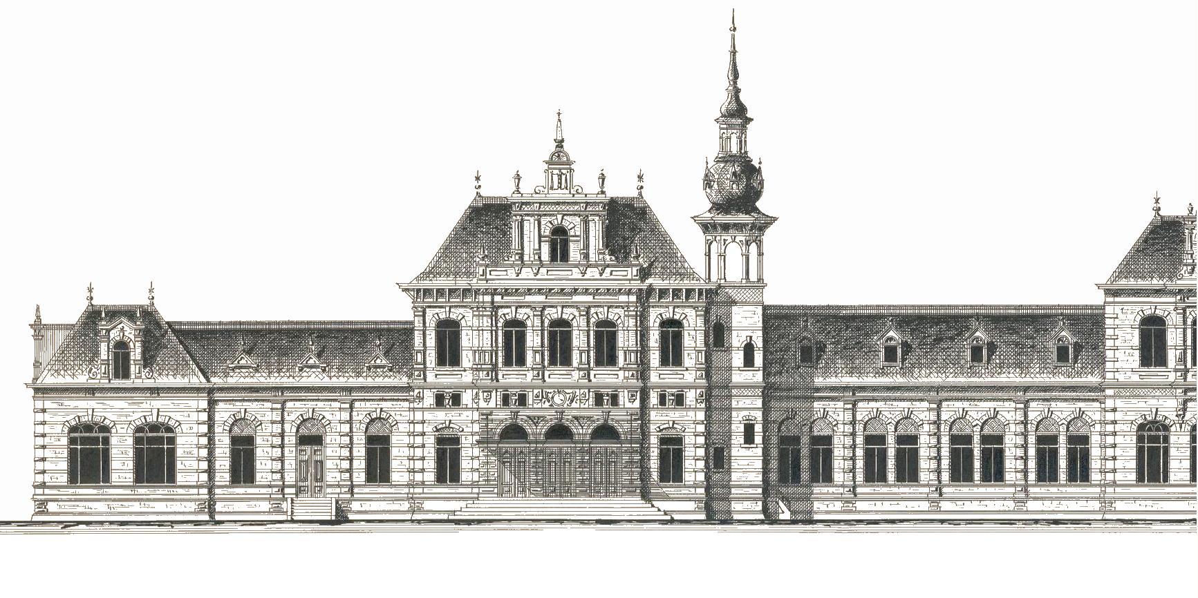 Schets van het oude stationsgebouw