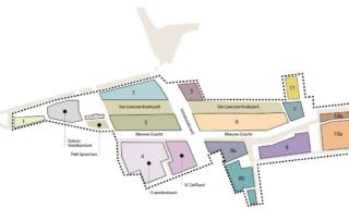 Plattegrond van de projectvelden van Nieuw Delft