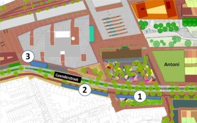 Locaties tijdelijke fietsenrekken langs Coenderstraat en Parallelweg