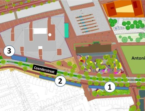 Tijdelijke fietsenrekken rond station Delft