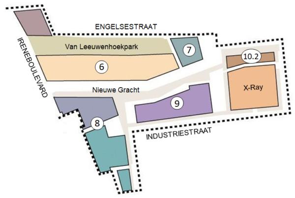 Kaart met veldnummers van het gedeelte van Nieuw Delft tussen de Irenboulevard, Engelstestraat en Industriestraat.