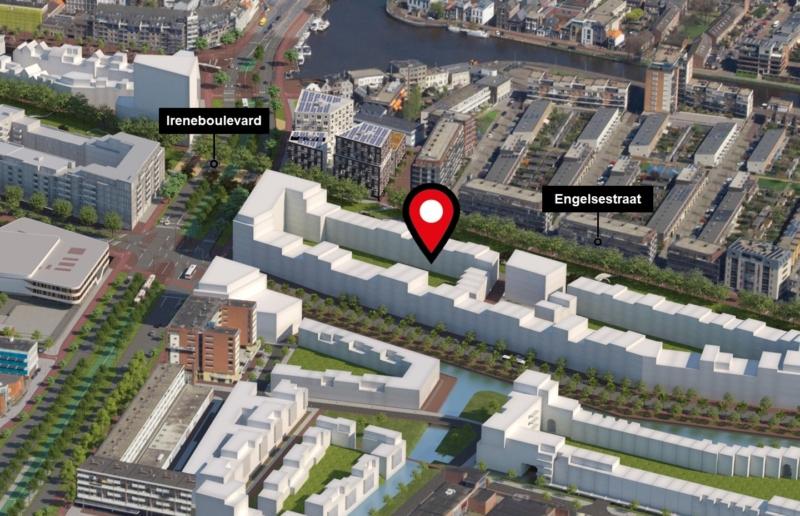 kaart van ligging mobiliteitshub voor zelfbouwers Nieuw Delft