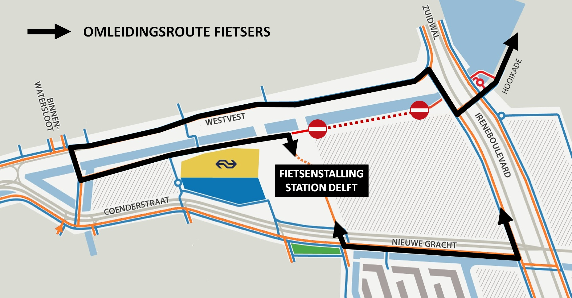 Kaart afsluiting Hooikade in Nieuw Delft