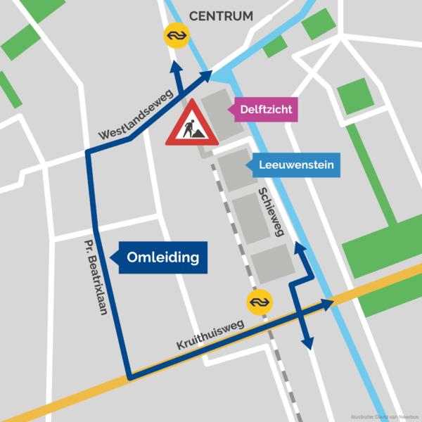 Kaart afsluiting Nieuwe Gracht in Nieuw Delft