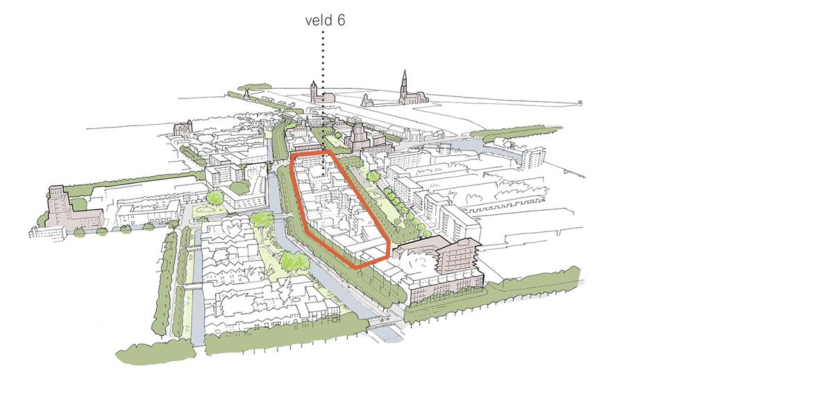 Kaart van Veld 6 in Nieuw Delft