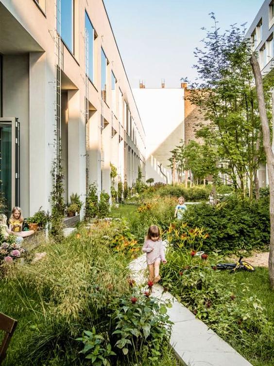 Impressie van de binnentuin van een wooncooperatie