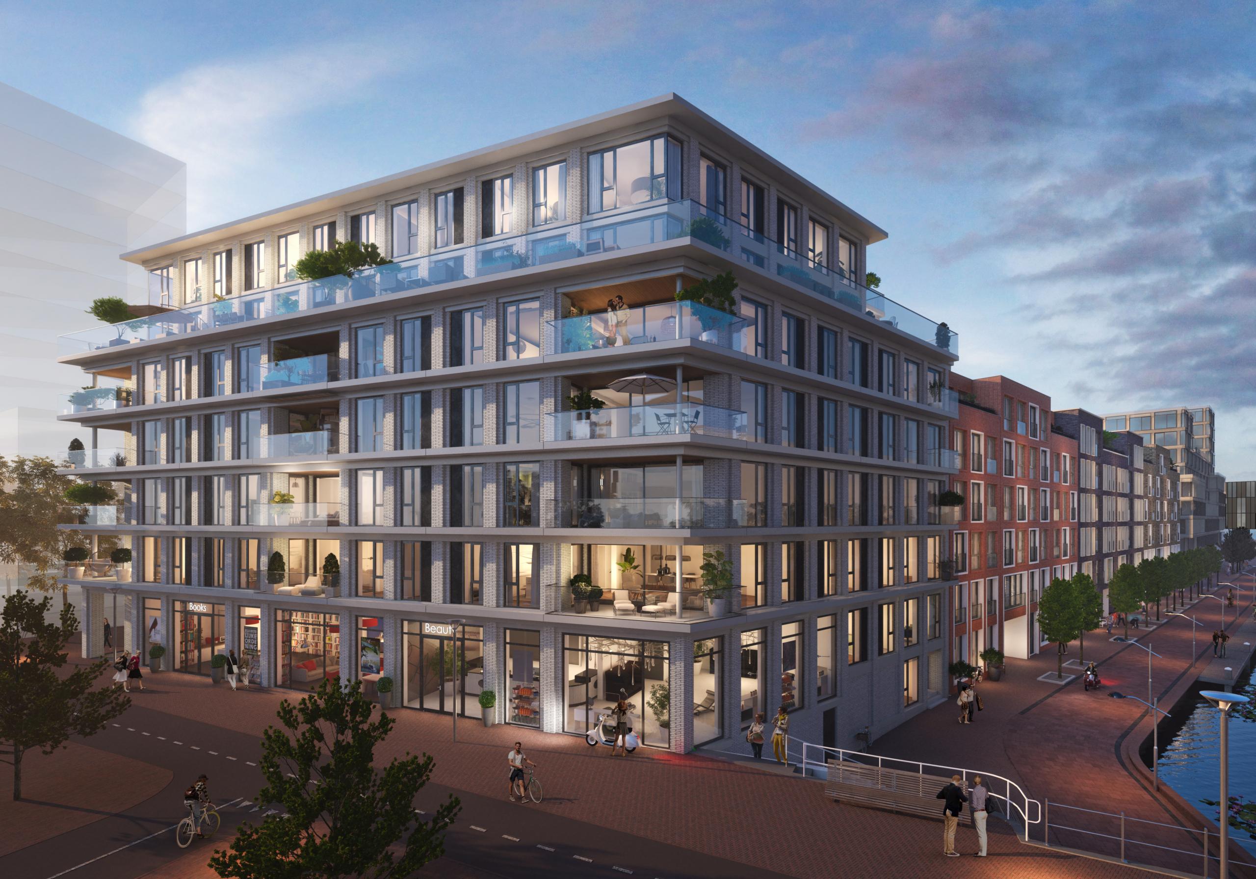 impressie van het gebouw gezicht op delft in nieuw delft, appartementegebouw met 5 lagen