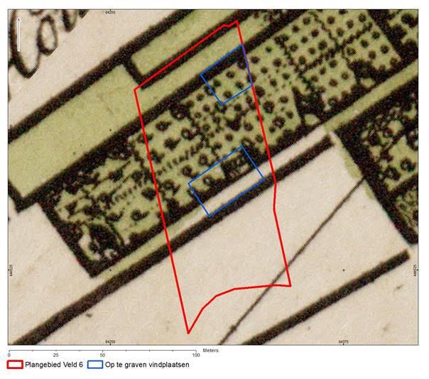 oude kaart met daarop aangegeven het veld waar gegraven wordt