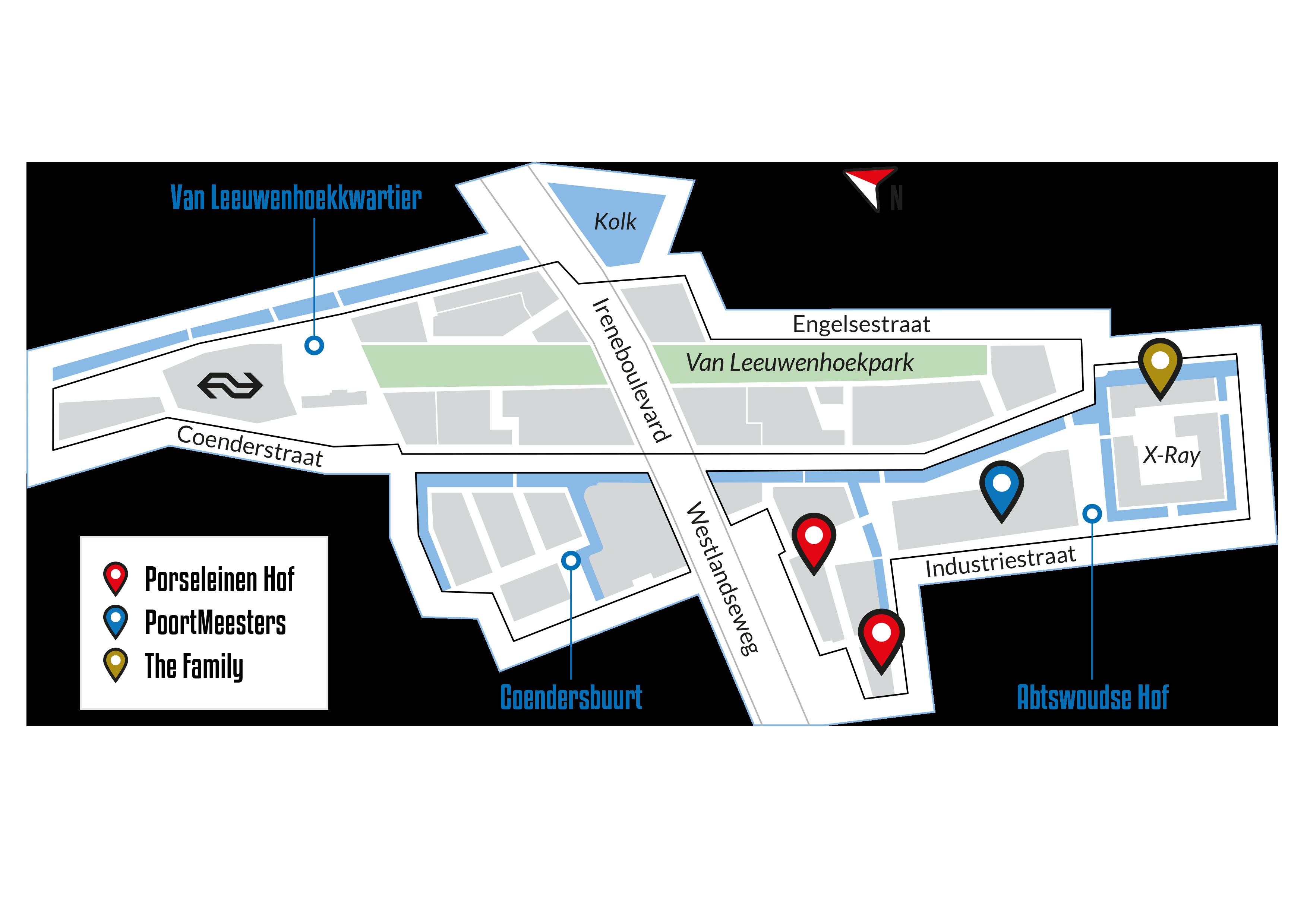 Kaart van het gebied Porseleinen Hof, PoortMeesters en The Family daarop aangegeven