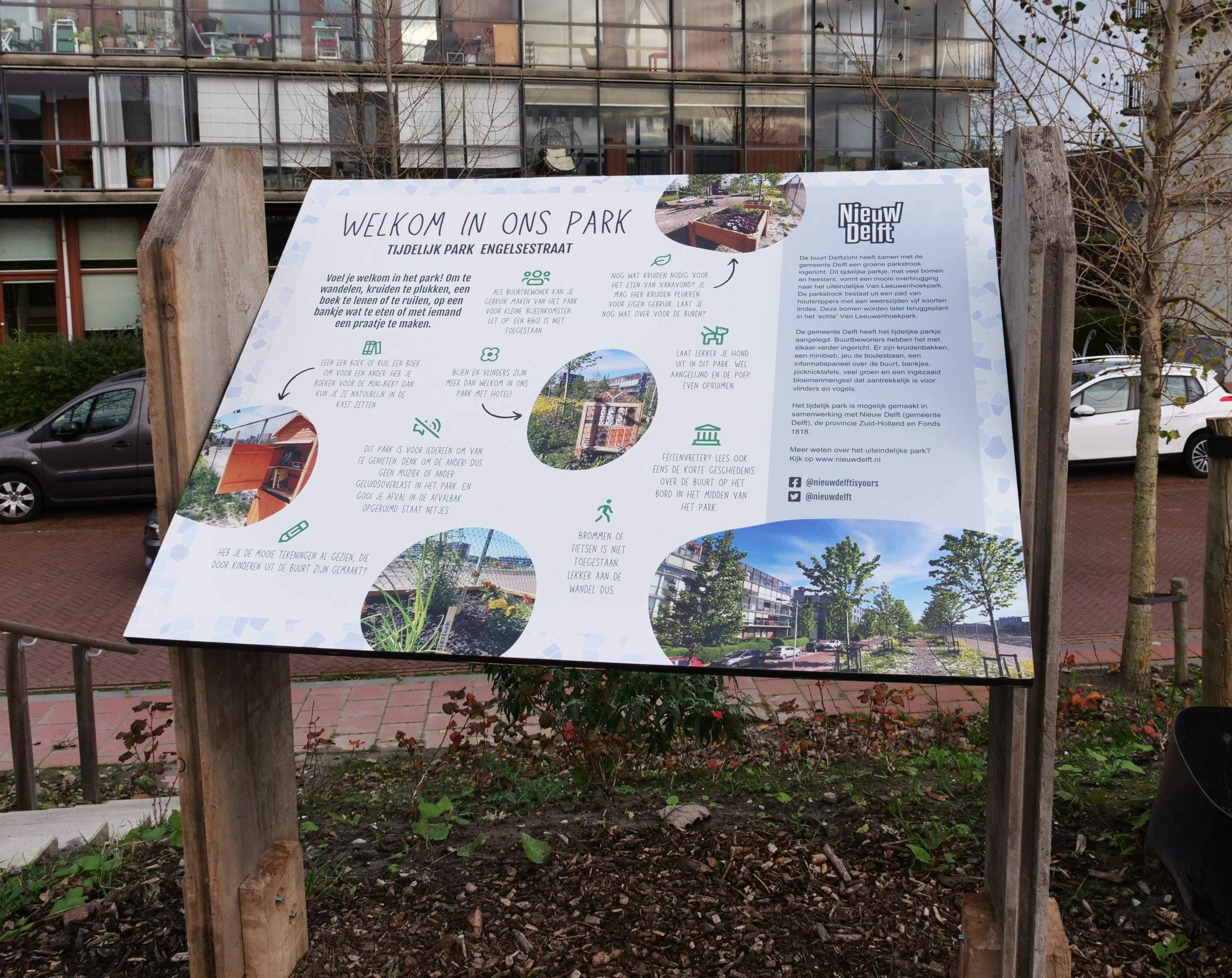 informatiebord over de parkstrook in Nieuw Delft