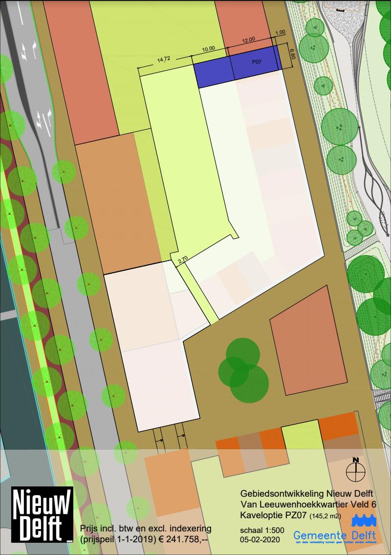 plattegrond van veld 6 met daarop getekend de beschikbare kavel