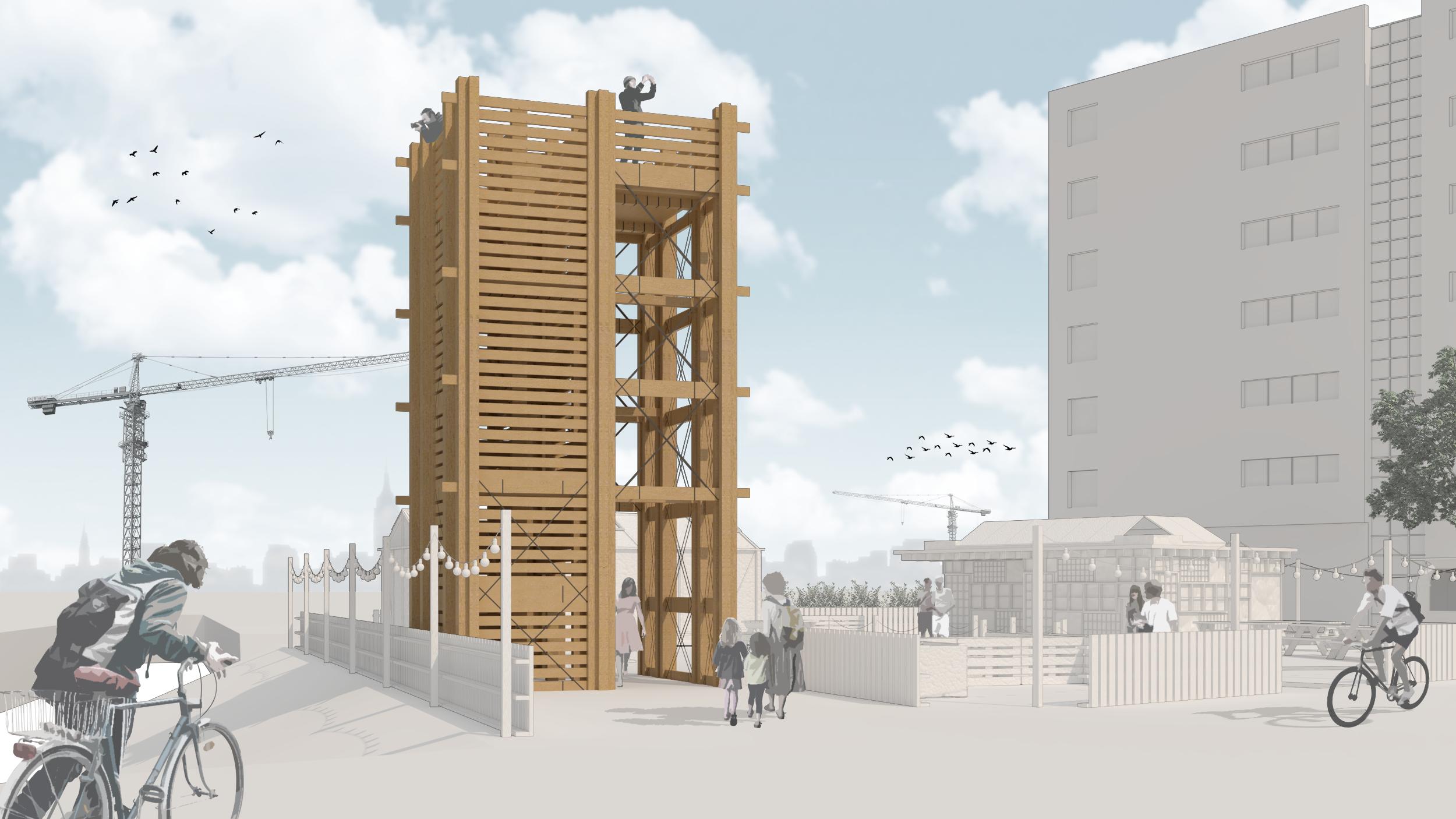 impressie van de houten uitkijktoren