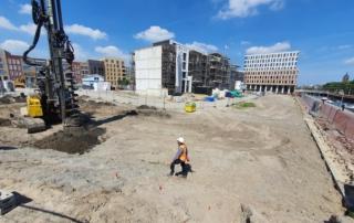 Foto van voorbereidende werkzaamheden Gezicht op Delft en Vermeer